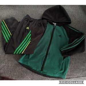 Adidas Bundle Three Stripe Fleece Zip Up & Pants
